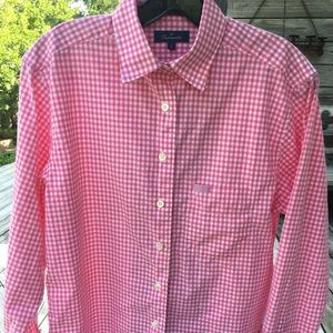 Faconnable pink gingham collared women's size sm